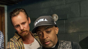 BLACKKKLANSMAN, from left: Adam Driver, Jasper Paakkonen, director Spike Lee