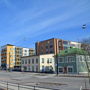 Hus i Nickby centrum.