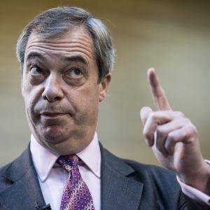 Brexitpartiets ledare Nigel Farage pekar upp i luften.