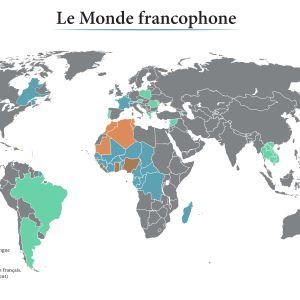 Maailmankartta, johon on eri värein merkitty ranskankieliset maat.