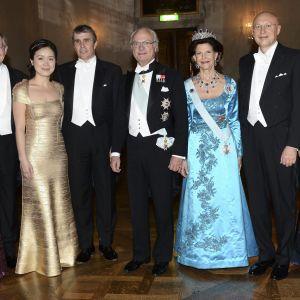 Sharon Stein Moerner, William E. Moerner, Na Ji, Eric Betzig, kung Carl Gustaf, drottning Silvia, Stefan W. Hell och professor Anna Kathrin Hell