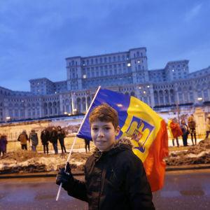 Pojke med rumänsk flagga deltar i protesterna mot det planerade korruptionsdekretet framför parlamentet i Bukarest.