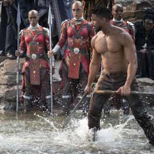 T'Challa (Chadwick Boseman) och Erik Killmonger (Michael B. Jordan) slåss mot varandra i ett vattenfall.