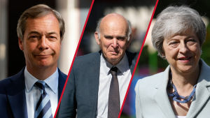 Sir Vince Cable, Theresa May och Nigel Farage.