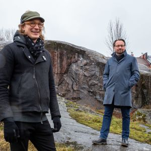 NCC:n kehityshippi Eelis Rytkönen ja JKMM:n arkkitehti Juha Mäki-Jyllilä.
