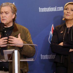Steve Bannon och Marine Le Pen i lille 10.3.2018.
