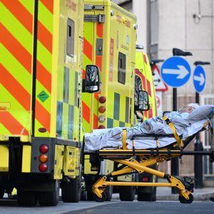 Potilasta työnnetään paareilla jonossa seisovien ambulanssien välistä