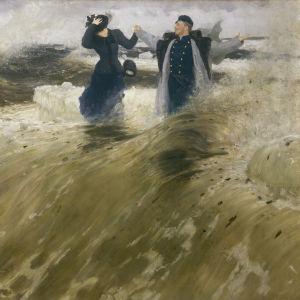 """På bilden syns Ilja Repins tavla """"Vilken frihet!"""" (1903) där Repin står mitt i stora vågor tillsammans med en kvinna."""