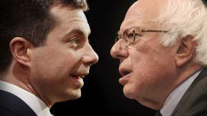 Med en ledning på bara en tiondedels procentenhet för Buttigieg (till vänster) över Sanders och otydliga resultat från många valdistrikt, menar nyhetsbyrån AP att det inte går att ultysa en vinnare i nomineringsvalet i Iowa.