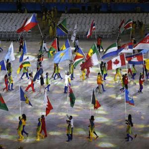 Flaggor på avslutningsceremonin i Rio