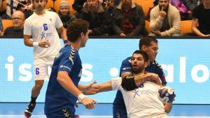 Finlands herrlandslag i handboll mot Cypern.