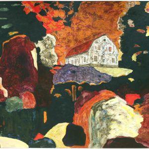 Värikäs öljymaalaus, jonka keskellä on pieni talo.
