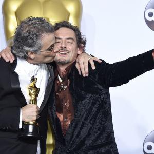 Mark Mangini och David White fick Oscars för bästa ljudeditering i filmen Mad Max: Fury road.