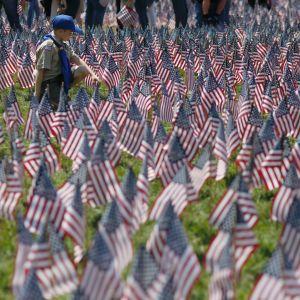 Scouter lägger ut tusentals amerikanska flaggor för att hedra stupade soldater och sjömän.