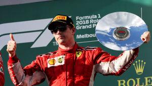 Kimi Räikkönen slutade trea i Melbourne.