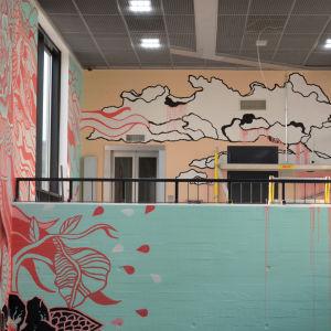 Myrbacka tågstation, väggmålning
