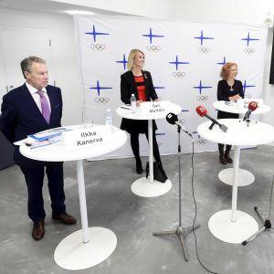 Ilkka Kanerva, Sari Multala, Susanna Rahkamo och Jan Vapaavuori under debatten.