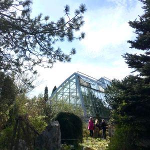 Botaniska trädgårdens växthus utifrån sett med tre små flickor i förgrunden.