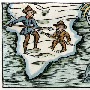 Viking strider mot en inuit i ett träsnitt Olaus Magnus Historia om de nordiska folken, som utgavs första gången 1555.