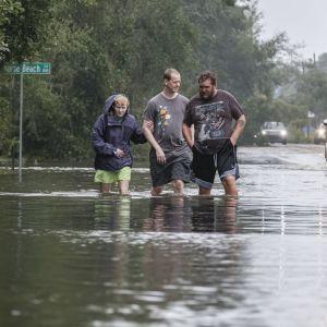 Största delen av Paradise Beach nära staden Pensacola i Florida ligger under vatten.