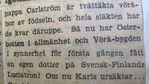 Klipp ur Hufvudstadsbladet 1959. Finlands lucia Astrid Carlström presenteras.