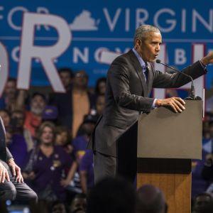 Den förre presidenten Barack Obama återvände till kampanjpolitik i ett valmöte för guvernörskandidaten Jim Murphy i New Jersey