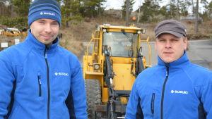 Matias Wendelin och Ronny Blomqvist vid Söljeholmen marina.