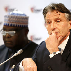 Hamad Kalkaba Malboum and Sebastian Coe in IAAF:s meeting in Monaco i February 2017.