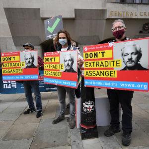 Kolme mielenosoittajaa pitelee Assangen kuvalla varustettuja kylttejä.