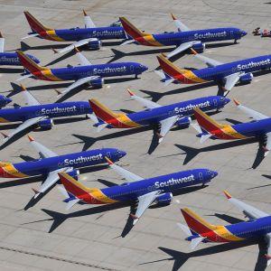 Boeing 737 Max-flygplan parkerade i Kalifornien. 28.3.2019