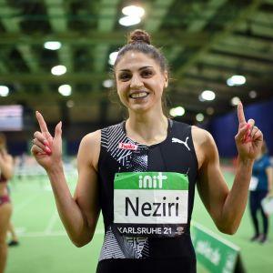 Nooralotta Neziri juoksi 60 metrin uudeksi Suomen ennätykseksi hallissa 7,92.