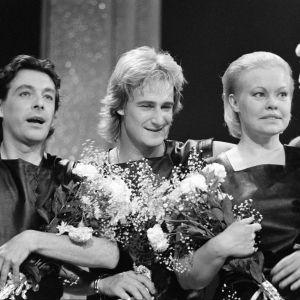 Yleisradioyhtiöiden viihdekilpailu Knokke Cupin vuoden 1983 voittajatiimi: Kirka, Riki Sorsa ja Anneli Saaristo.