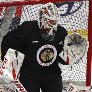 Kevin Lankinen i Chicagos träningströja.