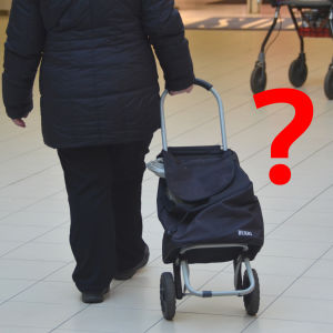 En person drar en shoppingvagn och bredvid är ett rött frågetecken.