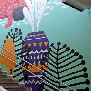 Myrbacka tågstation, väggmålning, djungeldjur, 18.3.2015