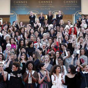 Skådespelare i #metoo-demonstration i Cannes.