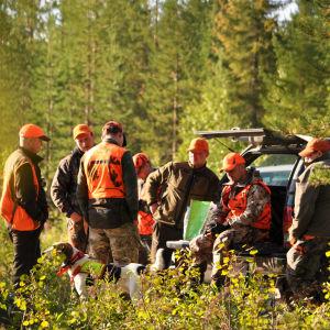 Metsästysporukka aamuvarhaisella metsänlaidassa metsästysreissun jälkeen.