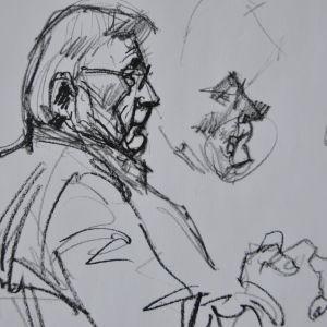 Illustratören Hannu Lukkarinens teckning av mordmisstänkte Nils Gustafsson.