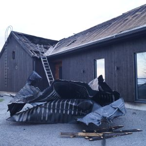 Egnahemshus i Larsmo förstördes i brand.