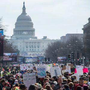 March for Our Lives-marsch i Washington 2018 för striktare vapenlagar.