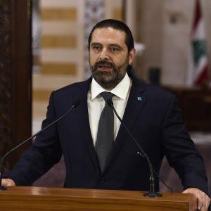 Libanonin pääministeri Saad Hariri puhui tiedotustilaisuudessa 18. lokakuuta 2019.