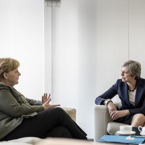 Theresa May och Angela Merkel träffas i Berlin den nionde maj 2019.