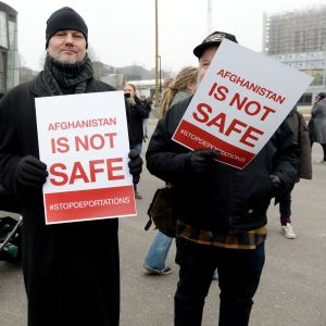 Demonstration mot återsändande av afghanska flyktingar