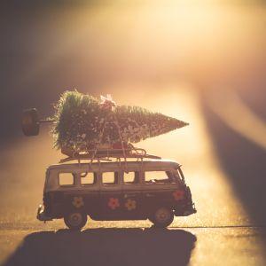 Bil med julgran på taket