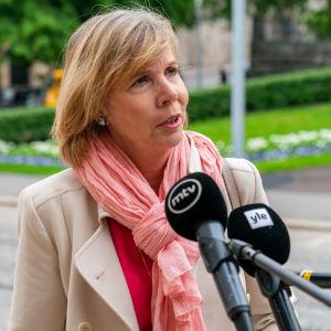 Oikeusministeri Anna-Maja Henriksson Säätytalon portailla.