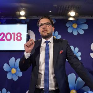 Sverigedemokraternas ordförande Jimmie Åkesson på valkvällen 2018.