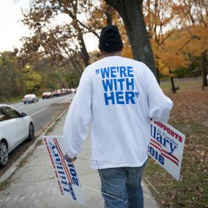 En av Hillary Clintons anhängare i Philadelphia.