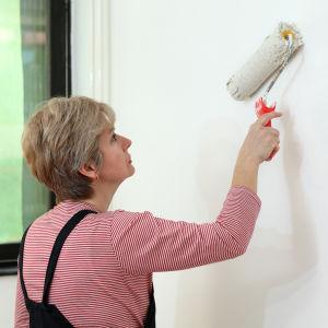 Person målar inomhusvägg.
