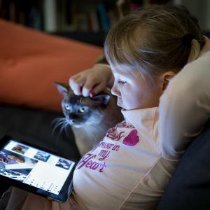 Lapsi ja kissa katselevat tabletti-laitetta.