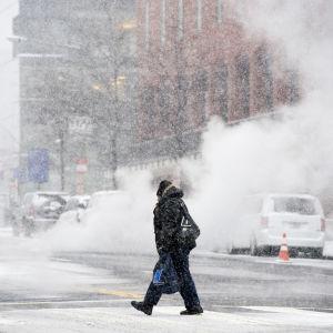 En fotgängare mitt i snöstromen på Washingtons gator.